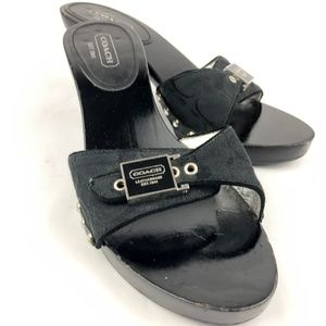 Coach Juliet Black Signature Logo Wood Platform  8